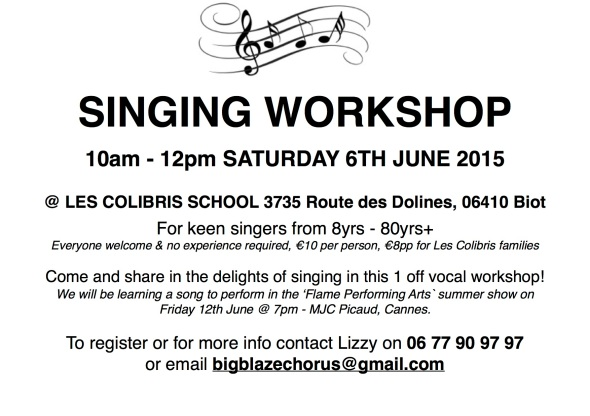 Sat 6th June - Singing Workshop POSTER